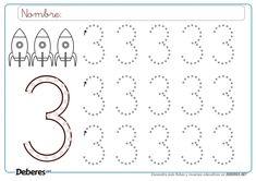 Ficha del número tres 3 con puntitos Preschool Writing, Numbers Preschool, Kindergarten Math, Nursery Worksheets, Free Math Worksheets, Baby Drawing Easy, Montessori Math, Tracing Letters, Guided Math