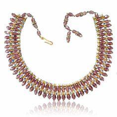 Austria Purple Glass AB Rhinestone Necklace Wide Statement Jewelry VIntage 1950s Jewelry Wedding Jewelry