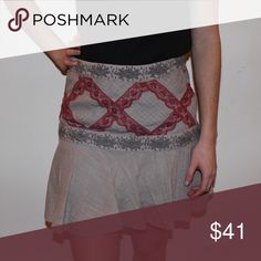 Free People Skirt Flowy mauve with gray and cranberry colored lace and embroidered details. Price is negotiable so contact me with an offer! Free People Skirts