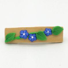 Blue Flower Barrette 2.5 Inches Indigo Spring Blossom Floral