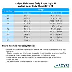 d7d3637046 Sizing chart for  - Ardyss Abdo Men s Body Shaper Style 31 - Ardyss Men s  Body