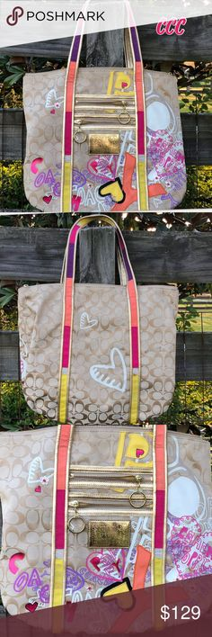 Coach 14537 Poppy Appliqué Rare Bag Graffiti Tote This is a preowned Rare Poppy Bag in good condition with small amounts of wear—no hang tags or dust bag; smoke free 🏠 .  Please check out my other listings. Coach Bags Totes