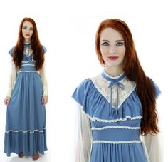 Gunne Sax Style Dress Vintage 60s 70s Blue by neonthreadsdesigns, $62.00
