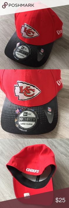 New Kansas City Chiefs NFL New Era Hat NWT Size large- extra large. New with tags, besides price tag, this was a Christmas gift but I haven't worn in so I'm letting it go👍🏻 red baseball hat with logo on front and spell out on back! This is an NFL New Era Cap. New Era Accessories Hats