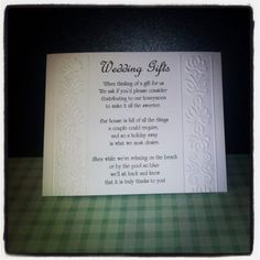 Wedding Gift Registry Asking For Money : ... Embossed Personalised Wedding Ask for Cash / Money Poem Cards A6 Size