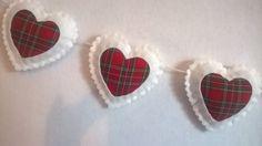 White Royal Stewart Tartan Felt Hearts Hanging, Wall Decoration, Garland, Bunting, Scottish, St andrews day, Hogmanay, Christmas Decor