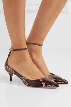 Heel measures approximately 50mm/ 2 inches Merlot, pink and black elaphe Buckle-fastening ankle strap Designer color: Dark Spice Elaphe: China Made in Italy