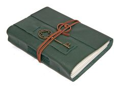 Green Leather Journal with Key Bookmark by boundbyhand on Etsy, $33.00