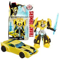 Hasbro Year 2014 Transformers Robots in Disguise Animation Series Deluxe Class 5 Inch Tall Robot Action Figure - Autobot BUMBLEBEE with Blue Sword (Vehicle Mode: Sports Car)
