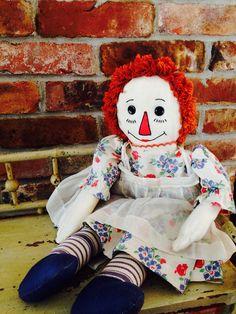 Vintage handmade 1930 Raggedy Ann Doll by cornerhouseinn on Etsy