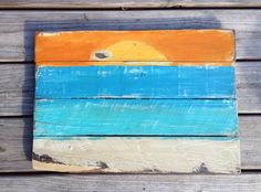 Sunset Painting, Beach Painting, Pallet Sign - add a beach-themed scripture Pallet Projects Signs, Pallet Signs, Wood Projects, Pallet Painting, Pallet Art, Pallet Ideas, Beach Wood Signs, Wooden Signs, Recycled Pallets