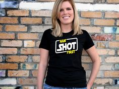 Star Wars fans will love sporting this awesome Han Shot First t-shirt which happens to be on sale for an amazing bargain price of just $13 right now!