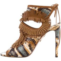 7a5cdd5b8749 Pre-owned Aquazzura Python Sexy Thing Fringe Sandals ( 425) ❤ liked on  Polyvore