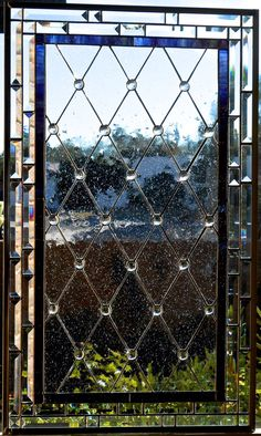 Diamond Grid Stained Glass Window Panel or Cabinet Door Insert by glassmagic on Etsy https://www.etsy.com/listing/223513738/diamond-grid-stained-glass-window-panel