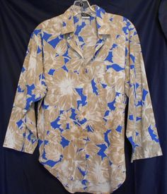 Oak Hill Long Sleeve Polyester Top Size 10 Blue Tan & White Button Front #OakHill #ButtonDownShirt #Career