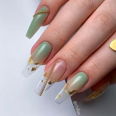 Nude Coffin Nails With Gold Foil ❤ 35+ Magnificent Coffin Nails Designs You Must Try ❤ See more ideas on our blog!! #naildesignsjournal #nails #nailart #naildesigns #nailshapes #coffinnails #balerinanails #coffinnailshapes