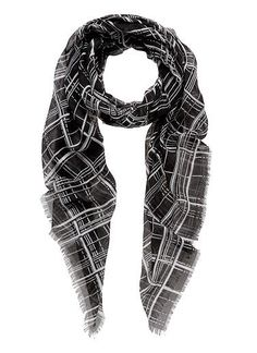 Scarf with check print. Length 180cm, width 10cm. Polyester.