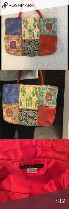 💜Christiana Purse💜 Pretty patchwork style purse. See last photo thread is showing a bit were thread was knotted on each side of handle when purchased. Purse in great condition, looks new. Christiana Bags