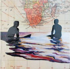 COLLAGE - Map & Giclee on Wood Block by Daina Scarola (South Africa, Eventide, Surf Art, Map Art)