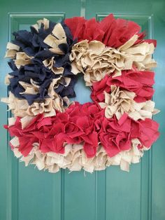 Check out this item in my Etsy shop https://www.etsy.com/listing/268846448/vintage-look-square-burlap-rag-wreath