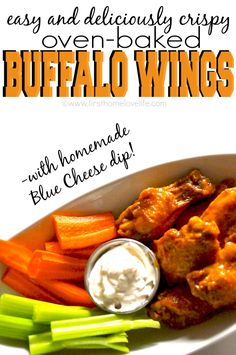 Crispy Baked Buffalo Chicken Wings with homemade blue cheese dip! #chickenwings #superbowl #yum