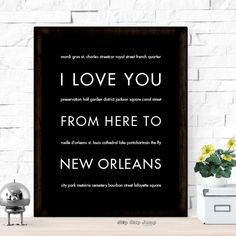 Keep Mardi Gras going all year long with this NOLA wall art print! Pin to shop later.   I Love You From Here To NEW ORLEANS art print