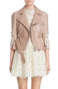 f9d9ffd92ceb2 crop lambskin leather jacket by Alexander McQueen. A pale, rosy hue and a  ruffled peplum soften the rugged moto styling of a cropped lambskin leather  jacket ...