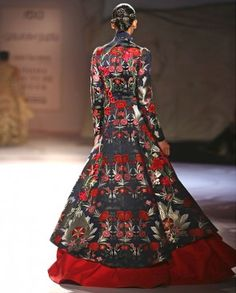 Red and Blue Lengha Jacket with Floral Embroidery