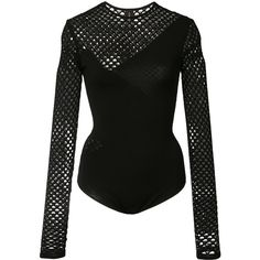 Alexandre Vauthier fishnet long sleeve bodysuit ($1,585) ❤ liked on Polyvore featuring intimates, shapewear and black