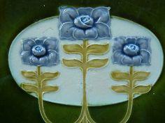 Antique Majolica Art Nouveau Tile Stylised Flowers Blue & Yellow Minton Hollins