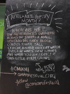 Downtown Miami blackboard poetry for O, Miami Festival #OMIAMI