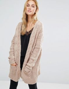 Image 1 of Fashion Union Oversized Cardigan In Chunky Cable Knit