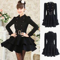 NEW Winter Womens Warm Princess Dress Black Falbala Stand Collar Long Sleeve HOT