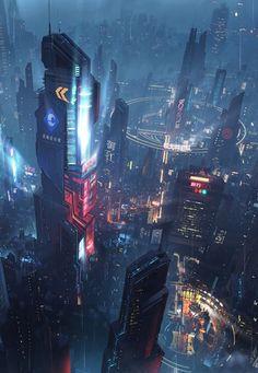 Cyberpunk Aesthetic, Cyberpunk City, Arte Cyberpunk, Futuristic City, Cyberpunk 2077, Futuristic Architecture, Fantasy Art Landscapes, Fantasy Landscape, Fantasy City