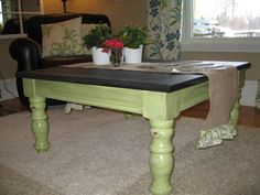 Refinish of coffee table - love the colored legs