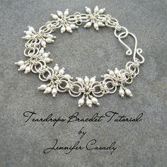 TUTORIAL -- Teardrops Gemstone and Chainmail Bracelet Tutorial -- A Jennifer Casady Signature Design--Etsy