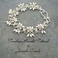 TUTORIAL -- Teardrops Gemstone and Chainmail Bracelet Tutorial -- A Jennifer Casady Signature Design--Etsy