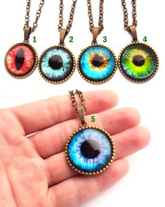 Cool and bright eye necklaces at my #etsy shop: Evil Eye Necklace Red Tiger Eye Halloween Dragon Eye Blue Cat Eyes Green Eye Pendant Violet Eye best selling items Coworker Gift https://etsy.me/2JsOoBy #jewelry #necklace #blue #green #halloween #birthday #no #bra