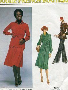 FREE US SHIP Vogue 1571 French Boutique Christian Aujard Dress Pants Uncut Size 16 Bust 38 Sewing Pattern Designer Pantsuit by LanetzLivingPatterns on Etsy