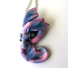 Sparkle Dragon Necklace, Fairy Rider, Miniature Polymer Clay Dragon Pendant by Claybykim on Etsy