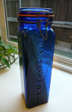 Vintage Cobalt Blue Glass Jar made in Italy by by SweetMayberry