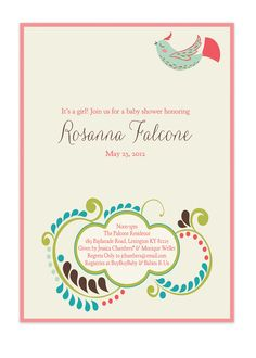 Spring Baby Shower Invitation Bird Floral Bridal Shower Invitation Rustic Whimsical Invitation DIY Digital or Printed - Rosanna Style Pink. $20.00, via Etsy.