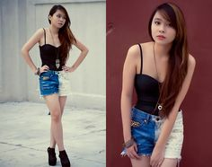Black Bustier, Owl Necklace, Sponsored By Azta Urban Salon  Ombre Hair, Black Booties, Two Tone Ombre Shorts