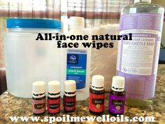 Perfect all-in-one natural makeup removing face wipes   1/2 Cup Thayers Alcohol-free Rose Petal Witch Hazel with Aloe Vera  1 tablespoon of Dr. Bronner's Fair Trade & Organic Castile Liquid Soap  10 drops of each lavender and frankincense essential oils  5 drops manuka, purification and/or melrose essential oils (optional)  Distilled water