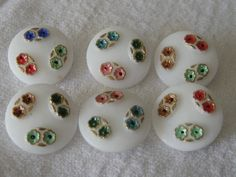 Set of 6 VINTAGE Painted Flower White Glass BUTTONS by abandc