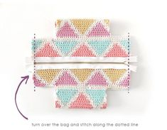 Learn how to make this CUBE Crochet Toiletry Bag usin the Tapestry Technique. FREE Step by Step Tutorial & Pattern. Designed to turn heads! Tapestry Crochet Patterns, Crochet Fabric, Crochet Crafts, Crochet Projects, Cube Pattern, Bag Pattern Free, Bag Patterns To Sew, Sewing Patterns, Crochet Chain