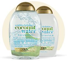 """My """"everyday"""" shampoo and conditioner. This coconut water duo leaves hair feeling clean and light."""