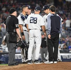 Subway Series 2017  -  The Yankees swept the Mets in the Subway Series Aug. 14-17, 2017, winning all four games at Yankee Stadium and Citi Field:     New York Yankees manager Joe Girardi checks on New York Yankees starting pitcher Luis Cessa before taking him out during the fifth inning against the New York Mets in a MLB baseball game at Yankee Stadium on Monday, Aug. 14, 2017.