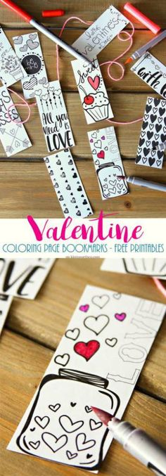 Valentine Printable Coloring Page Bookmarks – Scrap Booking