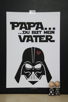 Decoration - Art Print Darth Vader / Star Wars - a design .- Dekoration – Kunstdruck Darth Vader / Star Wars – ein Designerstück von LaPetit… Decoration – Art Print Darth Vader / Star Wars – a unique product by LaPetitePapeteriePaul on DaWanda - Diy Father's Day Gifts, Diy Gifts For Kids, Father's Day Diy, Craft Gifts, Darth Vader Star Wars, Diy Crafts To Do, Crafts For Kids, Neck Tatto, Diy Presents